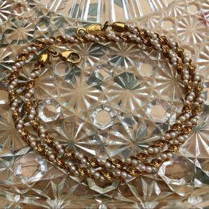 Vintage Napier Elegant Gold Pearl Woven Necklace